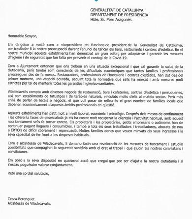 L'alcaldessa de Viladecavalls, Cesca Berenguer, demana a la Generalitat que es torni a valorar les mesures de tancament de bars, restaurants i centres d'estètica