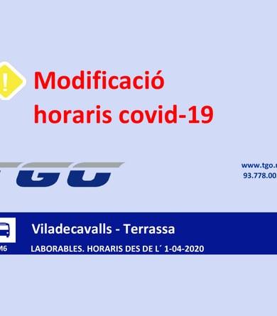 Modificació d'horaris del servei bus interurbà