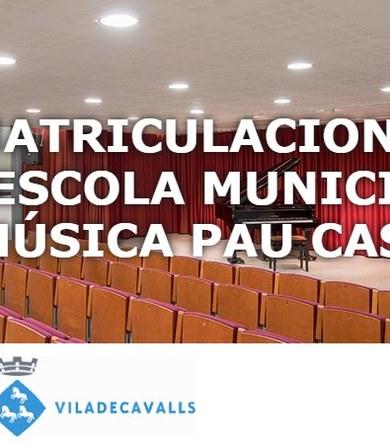 Obert el termini de matriculacions a l'Escola Municipal de Música Pau Casals