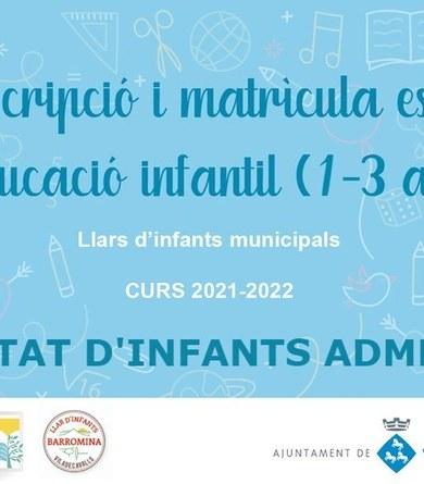 Publicades les llistes d'infants admesos a les llars d'infants municipals