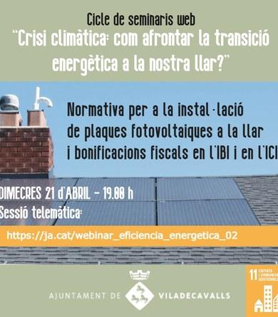 Segon webinar sobre gestió energètica i canvi climàtic