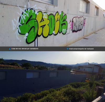 Repintat del mur exterior després del vandalisme