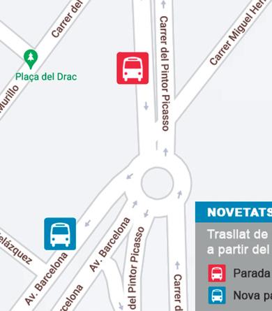 Trasllat de la parada de bus de la M6 del carrer Pintor Picasso en sentit Terrassa